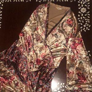 Easel Velvet Open Front Kimono Cardigan